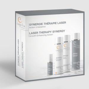 Trousse synergie thérapie laser avec shampoing anti-résidus, shampooing densifiant, conditionneur réparateur et sérum action.